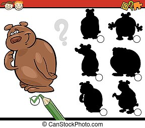 education shadows game cartoon - Cartoon Illustration of...