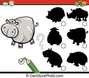 education shadows task cartoon - Cartoon Illustration of...