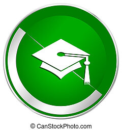 Education silver metallic border green web icon for mobile apps and internet.