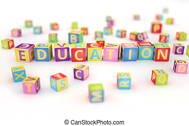 Education spelled by abc cubes