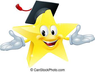 Education star man - Star man wearing a mortarboard,...