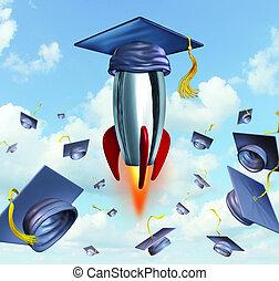 Education Success - Education success with graduation hats...