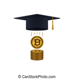 Education support icon with bitcoins and graduation cap on...