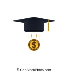 Education support icon with dollar coin and graduation cap...
