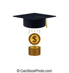 Education support icon with dollar coins stack and...