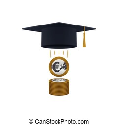 Education support icon with euro coins stack and graduation...