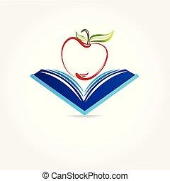Education symbol book and apple logo image design