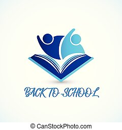 Education symbol book and people students graduates friendship back to school logo icon vector web image design template background