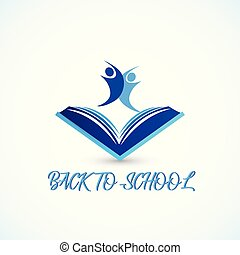 Education symbol book and people students graduates friendship back to school logo icon vector web image design tamplate background