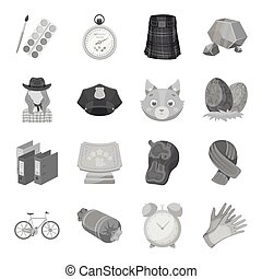 Education, taxi, animals and other web icon in monochrome style.Police, packing, rodeo icons in set collection.