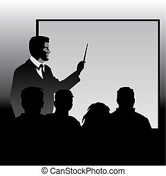 Education - teacher at the blackboard explaining disciples...