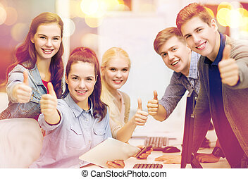 students with computer monitor and tablet pc - education,...