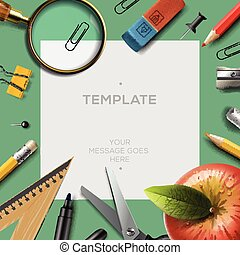 Education template with office supplies, back to school background