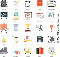Education theme, flat style, colorful, vector icon set