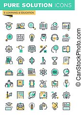 Education thin line icons set