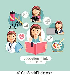 Education thinking conceptual. Girl holding books.