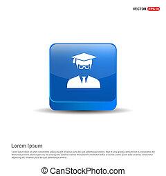 Education User Icon - 3d Blue Button