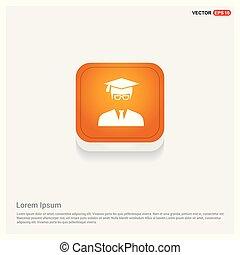 Education User Icon Orange Abstract Web Button