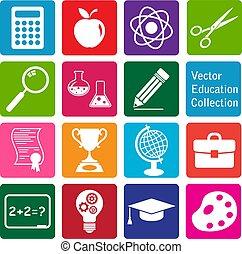 education, vecteur, icônes, collection:, ensemble