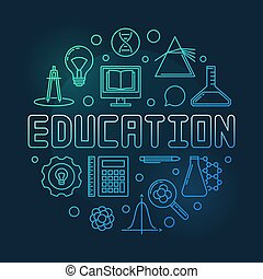 Education vector concept round colored outline illustration