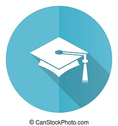 Education vector icon, flat design blue round web button isolated on white background