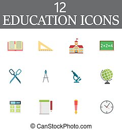 Education vector icons set, colorful solid symbol collection, sc