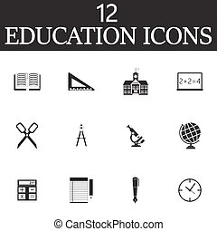 Education vector icons set, solid symbol collection, school pict