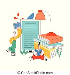 Education vector illustration with young students reading books surrounded by big school supplies.