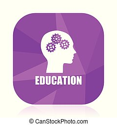 Education violet square vector web icon. Internet design and webdesign button in eps 10. Mobile application sign on white background.