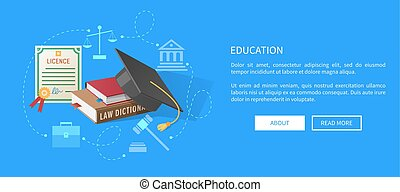 Education Web Banner with Lawyers Licence, Books - Education...