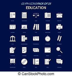 Education White icon over Blue background. 25 Icon Pack