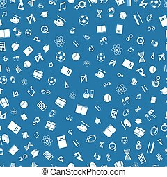 Education white icons on blue background seamless pattern