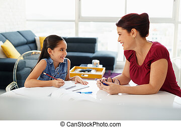 Education With Mom Helping Daughter Doing School Homework At Home