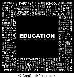 EDUCATION. Word cloud concept illustration. Wordcloud...