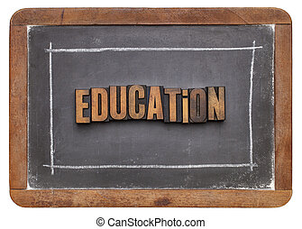 education word in wood type