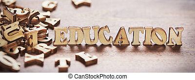Education word made from wooden letters
