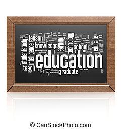 Education word on blackboard
