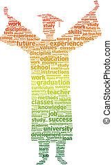 Education - Word silhouette of a graduation student on white...