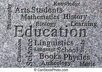 Education classroom subjects and related words in wordcloud on textured background