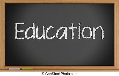 Education written on blackboard.