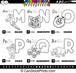 educational alphabet letters set coloring book - Black and ...
