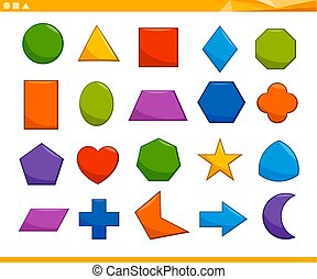 educational basic geometric shapes - Cartoon Illustration of...