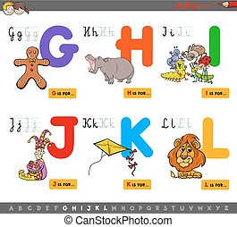 educational cartoon alphabet for kids - Cartoon Illustration...