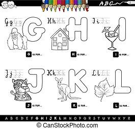 educational cartoon alphabet for kids color book