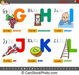 educational cartoon alphabet letters set for children