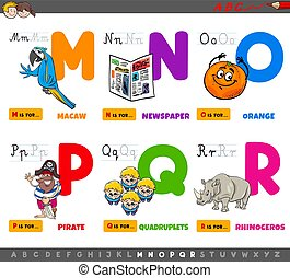 educational cartoon alphabet letters set from M to R