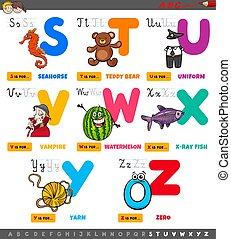 educational cartoon alphabet letters set from S to Z