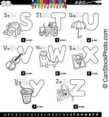 educational cartoon alphabet set color book