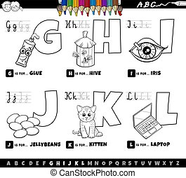 Black and White Cartoon Illustration of Capital Letters Alphabet Educational Set for Reading and Writing Learning for Preschool and Elementary Age Children from G to L Coloring Book Page