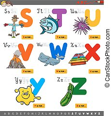 educational cartoon alphabet set for children - Cartoon...